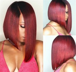 Wholesale Lace Front Wigs Dark Red - Middle Part #99j Burgundy Glueless Full Lace Wig & Front Lace Wig Brazilian Silk Straight Human Hair BOB Wigs Wine Red For Black Women