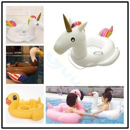 Wholesale water baby seat - Summer children Lifebuoy Swimming circles Float baby Seat Inflatable unicorn Pool Float Water beach Pool Toy Kids Swimming ring