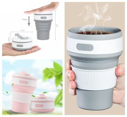 Wholesale wholesale red cups - Hot New Folding Silicone Cup Portable Telescopic Drinking Collapsible Coffee Cup Multi-function Folding Travel Water Mug DDA387