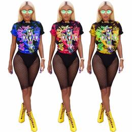 Pistola de pantalón online-2018 Nuevo Set de 2 Piezas Mujeres Camisetas Top Guns N Roses Longitud de Rodilla Pantalones Reticulados Sexy Estilo Punky Mujeres Set Summer Style