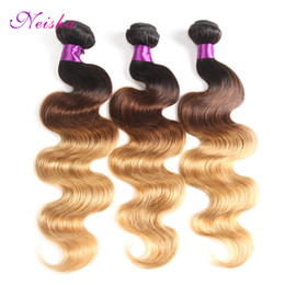 Wholesale omber hair extensions - Neisha 7A Ombre Brazilian Hair 3 Bundles Brazilian Body Wave Ombre Human Hair Extension T1B 4 27 Omber Hair 100G Piece