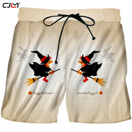 clothing new witch Coupons - CJLM Men's Clothing New Arrivals Halloween Pocket Elastic Waist Shorts 3D Broom Witch Printed Chinese Style Big Size 5XL