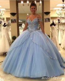 vestidos 15 cor coral Desconto 2019 princesa luz céu azul vestidos quinceanera spaghetti sweep trem grande beading vestidos de festa de formatura vestidos de festa para o doce 15