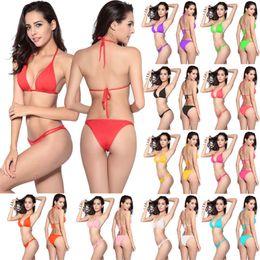 Wholesale gold bikini sale - Summer 12 Colors Women Bikini Swimwear for Women Swimsuits Sexy Bikini for Women Beach Clothing Hot Sale Solid String Bikini Two Piece