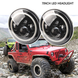 Wholesale Dual Motorcycle Headlight - Free shipping 40W 7inch round LED headlight Speakers dual beam headlamp with angel eyes for offroad Harley motorcycle Wrangler 07-15 Miata