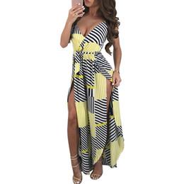 b141a1d0183 romper maxi 2019 - Summer women s jumpsuit One piece Womens Striped Deep  V-Neck Slit