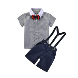 Wholesale boys occasion suits - Cotton Children's Short-sleeved Bib Suits Kindergarten Handsome Boys Gentleman Suit Children's Formal Occasion Clothing Set