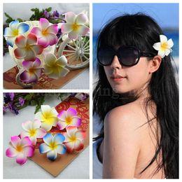 Wholesale plumeria wedding - Hawaiian Seaside Vacation Plumeria Flower 7cm For Women Decor Hairclip Bridal Wedding Party Foam Frangipani Hair Accessories MMA154