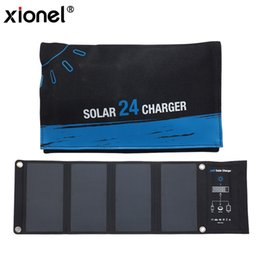 Wholesale Solar Charging Mobile Phones - Xionel 24W Dual USB Solar Charger, PowerPort Solar with Fast Charging Solar Bag for iPhone for Samsung Mobile Phone