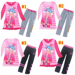 calças extravagantes Desconto 2018 pijamas para meninas manga comprida vestidos de algodão calças jojo siwa clothing set crianças fancy dress trolls adolescentes roupas mma907