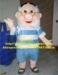 alte haken Rabatt Lively Blue Old Man Maskottchen Kostüm Mascotte Kapitän Hook Peter Pan Erwachsener mit großen Red Hat White Bushy Beard No.2789 Geben Sie Schiff frei