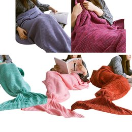 Wholesale King Bedding Bag - Wholesale- New Fashion Knitted Mermaid Tail Blanket Handmade Crochet Adult Bed Wrap Soft Sleeping Bag Blankets HG99