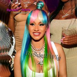 Peruca de cabelo da cor do arco-íris peruca resistente ao calor sintético frente perucas com franja ombre raiz preta rosa azul peruca cor destaque de