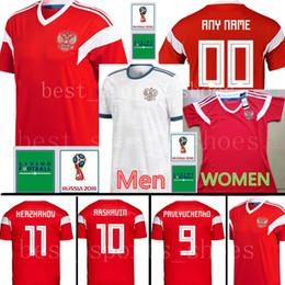 Wholesale russia football - Russia 2018 world cup Soccer Jersey 2018 world cup Russian Home Red Football uniform #6 SHVETS #10 DZAGOEV #11 SMOLOV White Soccer Shirts