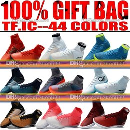 Wholesale Gold Indoor Soccer Shoes - Original New Indoor Soccer Shoes MercurialX Proximo II TF IC Football Boots High Top Mercurial Superfly CR7 Indoor Soccer Cleats Turf Neymar