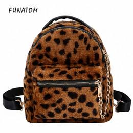 Kinderrucksäcke leoparddruck online-Leopard Print Kleine Rucksäcke Für Frauen 2018 Mini Rucksack Kinder Mode Rucksack Reisekette Plüsch Taschen Wintertasche