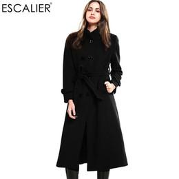 Wholesale Wool Overcoat Design Women - Wholesale-ESCALIER New Design Vogue Winter Women Coat Black Wool Coat With Big Fur Collar Warm Outerwear Overcoat With Belt Free Shipping
