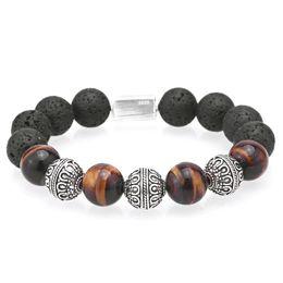 2019 сделать браслеты из бисера Mcllroy Beaded Bracelets Bracelet men Thai silver 12MM Tiger eye Lava  Hand made bracelet Pulseira masculina 11.11 fashion скидка сделать браслеты из бисера