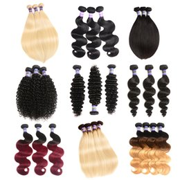 Wholesale Dark Blonde Curly Hair Extensions - Ombre Brazilian Remy Human Hair Extension Body Wave deep wave Bundles afro kinky curly loose wave Hair straight Weave Natural black Color