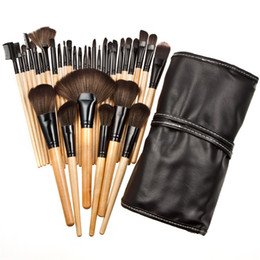 32 rosa make-up pinsel set online-Professionelle Make-up Pinsel Sets 24 32 Stück Schwarz Rosa Vollkosmetik-Kit Make-up Pinsel für Gesichtspuder Lidschatten Foundation Pinsel
