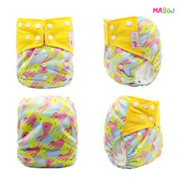Wholesale Diaper Cover Inserts - MABOJ One Size Fits All Cloth Diaper Washable Baby Nappy Reusable Cloth Nappy with Microfiber Insert Fit 3-15kg Baby