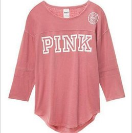 Wholesale top korean clothing - Korean Harajuku Three Quarter Sleeve Pink Tops PINK Letters Pattern Women Sweatshirt Love Pink Women T-shirts Clothing CCA9192 10pcs