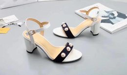 Wholesale gold shoes mid heel - AAAAA Quality Women Leather 8cm Mid-Heel Sandals Shoes,Adjustable ankle strap,gold-toned hardware,Size 35-40,Free Shipping
