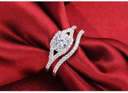 Wholesale Ring Wedding Pair Gold - ing thing bottle opener Moonso Two Gifts a Pair Luxury Promise Genuine 925 100% pure Sterling Silver rings for women wedding engagement R...
