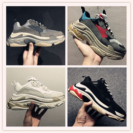 Wholesale Thick Sole Casual Black Shoes - 2017 Autumn Winter Casual Shoes 17FW Triple-S Leather and Mesh Thick Soled Shock Absorption Running Sneakers