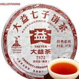 Wholesale Authentic Food - C-PE019 China Green Food 100% authentic TEA 2010 Nian 7572 ripe Puerh tea Menghai Dayi 357 g Puer cha cake Pu er tea