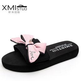 Wholesale wedge heel beach sandals - XMISTUO Brand 2017 Casual Women Butterfly Knot Female Tap Shale Beach 3CM Platform Slippers Shoes Wedges Bayan Terlik Sandals
