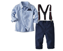 baby brace suit Coupons - Boy Striped T-shirt and Pants with Braces Set Baby Spring and Autumn Suspenders Suit Kids Tops and Trousers Two Pieces Children Clothes