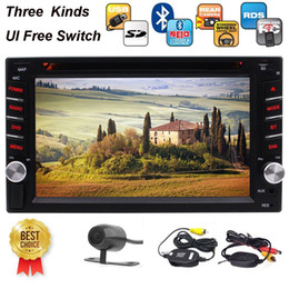 Ver cartão de memória on-line-Câmera sem fio + 6.2 '' Double Din Stereo Receiver Bluetooth 1080P carro DVD / MP3 / MP4 Player AM / FM Rádio Cor Botão Microfone Cartão de Memória SD