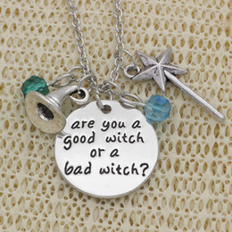 Wholesale wand charms - wholesale 10pcs lot Are you a good witch or a bad witch? pendant necklace Hat Magic Wand Charm Necklace Inspirational jewelry Gift