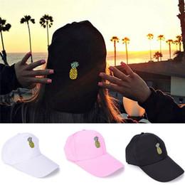 Wholesale hip hop shades - Dome Hip Hop Hats for Summer Sun Shading Adjustable Casquette Pineapple Pattern Baseball Cap Novelty Gift DDA565