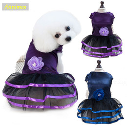 Wholesale Clothes For Dogs Girl Small - 2018 Pet Satin Formal Dresses Girl Dogs Elegant Cocktail Party Tutu Puppy Wedding Costume Skirt Clothes for Chihuahua Yorkie Princess Baby