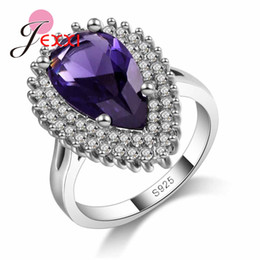 Wholesale elegant mature woman - JEXXI Deep Purple Elegant 925 Sterling Silver Finger Rings for Women High Quality Engagement Jewelry For Mature Women