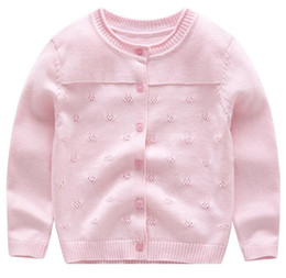 Wholesale kids floral cardigan - Pink Kid Cotton Hollow Floral Cardigan Air Conditioner Sweater Summer Wear 5 Colors Choice Great Workmanship