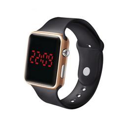 Цифровые ленты онлайн-Women Men Unisex Sports Watch Silicone Band Digital Watch Red LED Digital Watches Male Female WristWatch Waterproof Saats