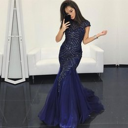 Wholesale Black High Neck Tank - 2018 Glorious High Neck Mermaid Prom Dresses Full Beaded Rhinestones Navy Blue Tank Backless Evening Party Dress Vestidos De Noche