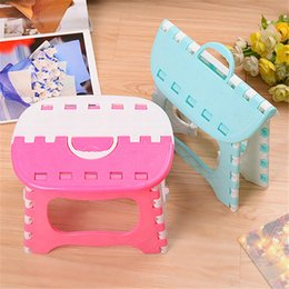 Wholesale Stool Plastic - Creative colorful spell color plastic folding convenient storage small stool children adult outdoor portable folding stool free shipping