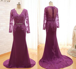 Wholesale Pictures Red Hearts - Lace Mother Of The Bride Dresses Real Photos 2018 Long Sleeves Sheath Grape Purple Chiffon Formal Evening Gowns V Neck Sweet Heart Back