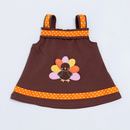 Wholesale Turkey Clothes Wholesalers - Thanksgiving Light Brown A-Line Dress Romper Baby Girls 2017 Autu'm'n Style Tutu Clothing for Newborn Toddler Dress with Turkey
