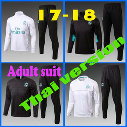 Wholesale Yellow Sweat Suits - Soccer tracksuits 2017 Best quality survetement football Marseille Real Madrid training suit sweat top chandal soccer jogging football pant