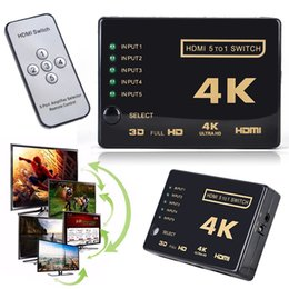 Wholesale Remote Ir Extender - HDMI Splitter Switch Box Ultra HD 5 Port 4K 3D 1080P IR Remote Control Selector 5 in 1 Extender For HDTV 1080P Vedio