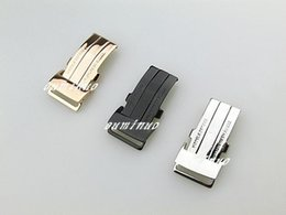 Черные полированные часы онлайн-20 мм Новый из нержавеющей стали полированный серебряный черный розовое золото смотреть полосы пряжки Раскладывающаяся застежка для Breitling смотреть полосы