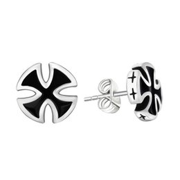 Wholesale Male Personality - Europe and the United States retro men's silver-plated silver tide only allergic black earrings male personality drops rubber ear jewelry