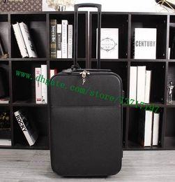 Wholesale free suitcases - Top Grade Men Real Calf Leather Travel Suitcase Designer Rolling Luggage Black Taiga PEEGASE LEEGERE M30005 Free Shipping