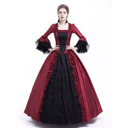 2019 victoriano gótico rojo negro vestidos Vestido negro y rojo de Marie Antonieta Vestido de fiesta gótico victoriano Vestido de fiesta Renacimiento Vestidos rococó rebajas victoriano gótico rojo negro vestidos