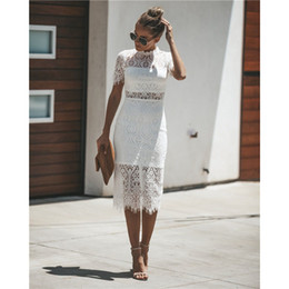 2019 платья дамы платья до колен Sexy Fashion Lace Dress Women  Clothing Ladies Bodycon Elegant Casual Party Office Pencil Midi Dress Knee-Length дешево платья дамы платья до колен
